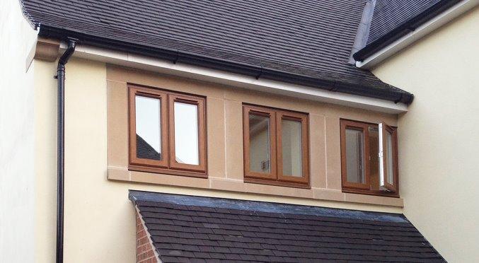 Legend Chamfered Golden Oak windows external